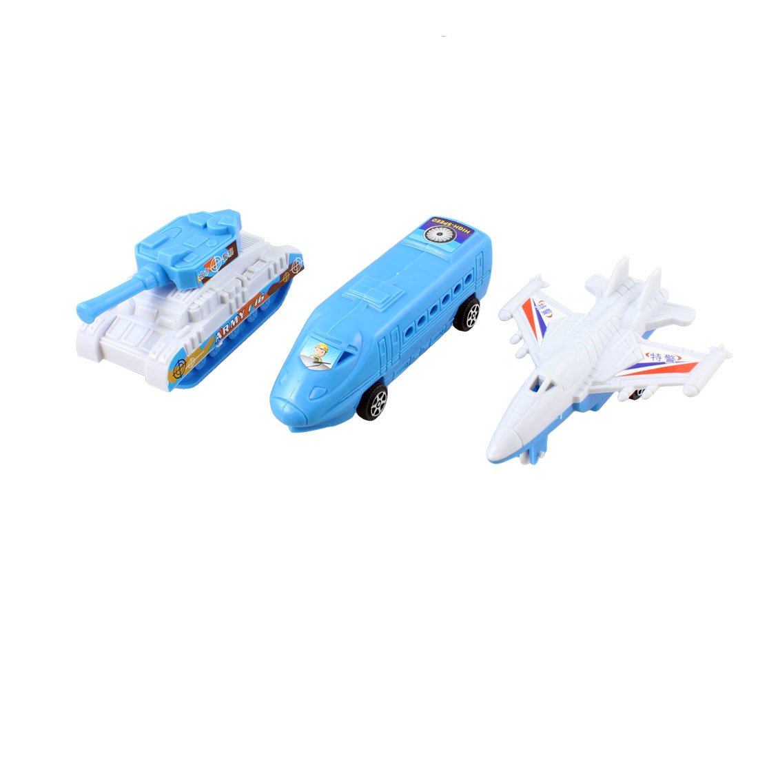 3 in 1 Set Blue White Plastic Airplane Battle Tank Car Toy