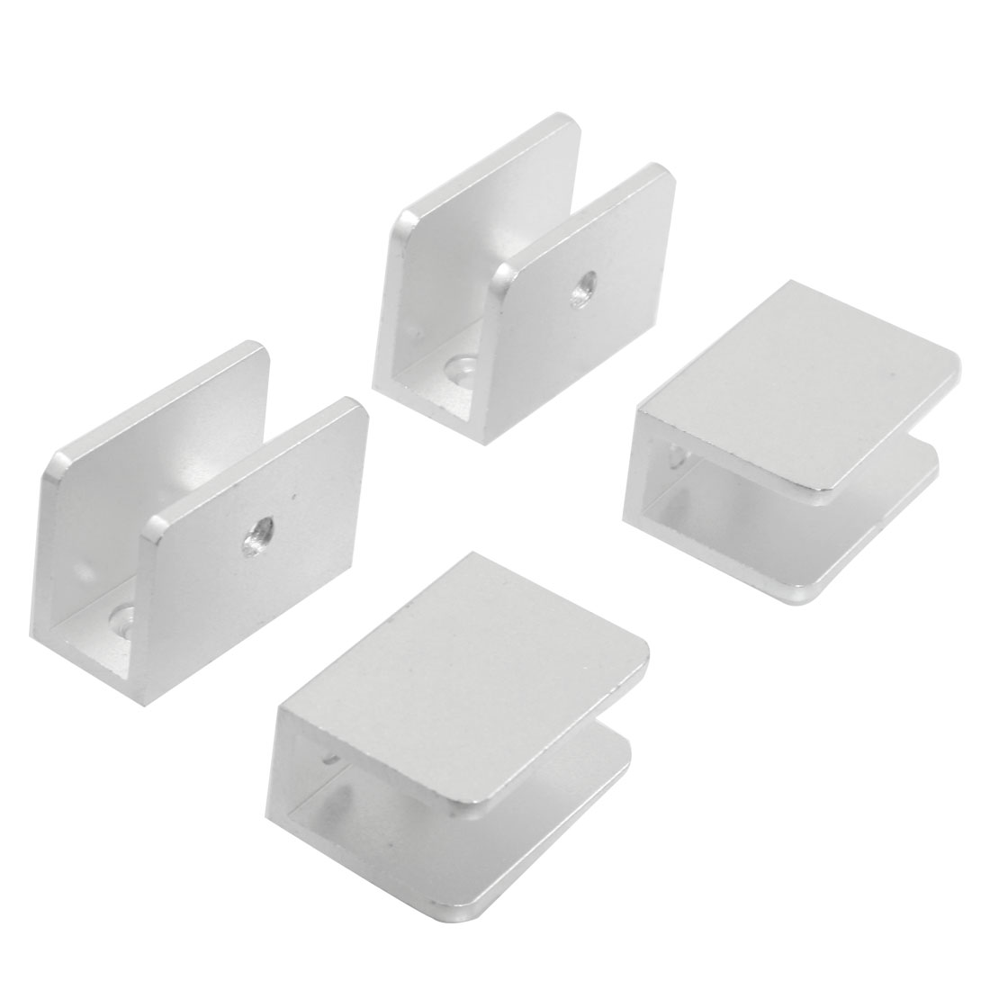 Wall Mount 10-12mm Thick Glass Metal Clip Clamp Silver Tone 4 Pcs