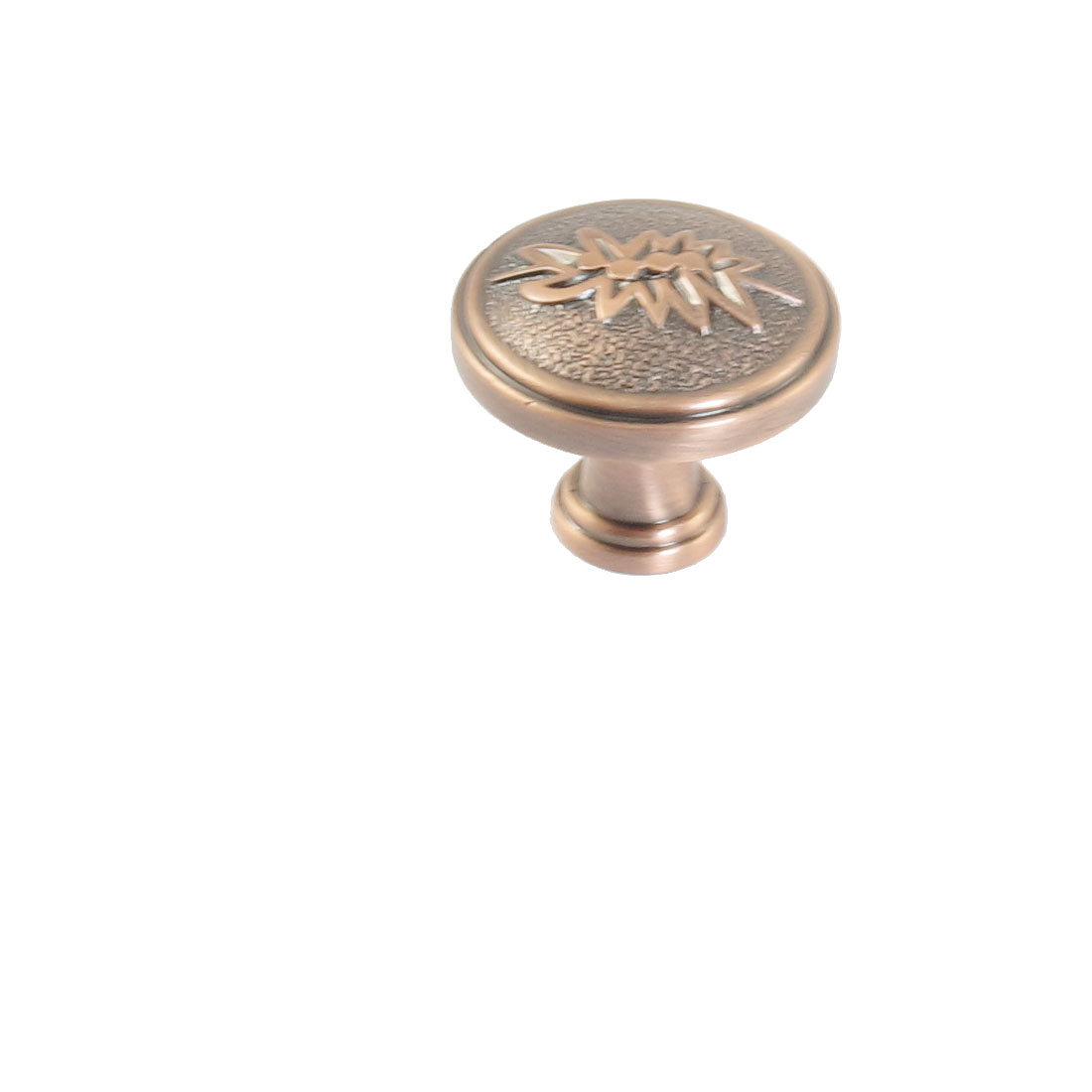 Copper Tone Screwed Embossed Floral Cupboard Drawer Pull Knob Handle