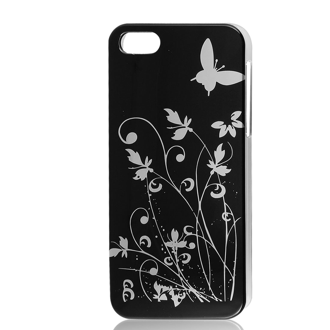 Flower Butterfly Design Black Hard Back Case Cover for iPhone 5 5G 5th
