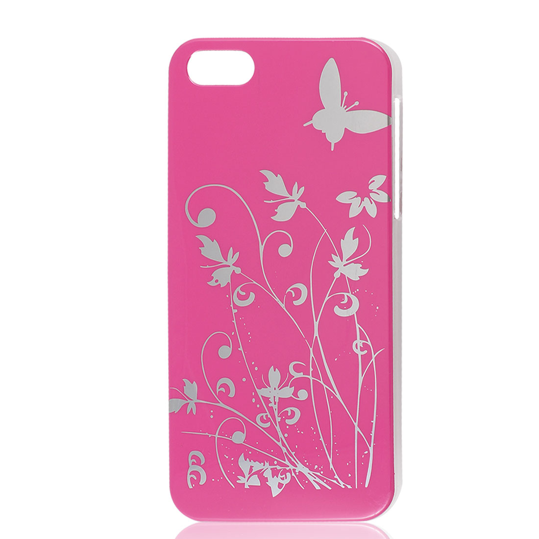 Floral Butterfly Design Fuchsia Hard Back Case Cover for iPhone 5 5G 5th