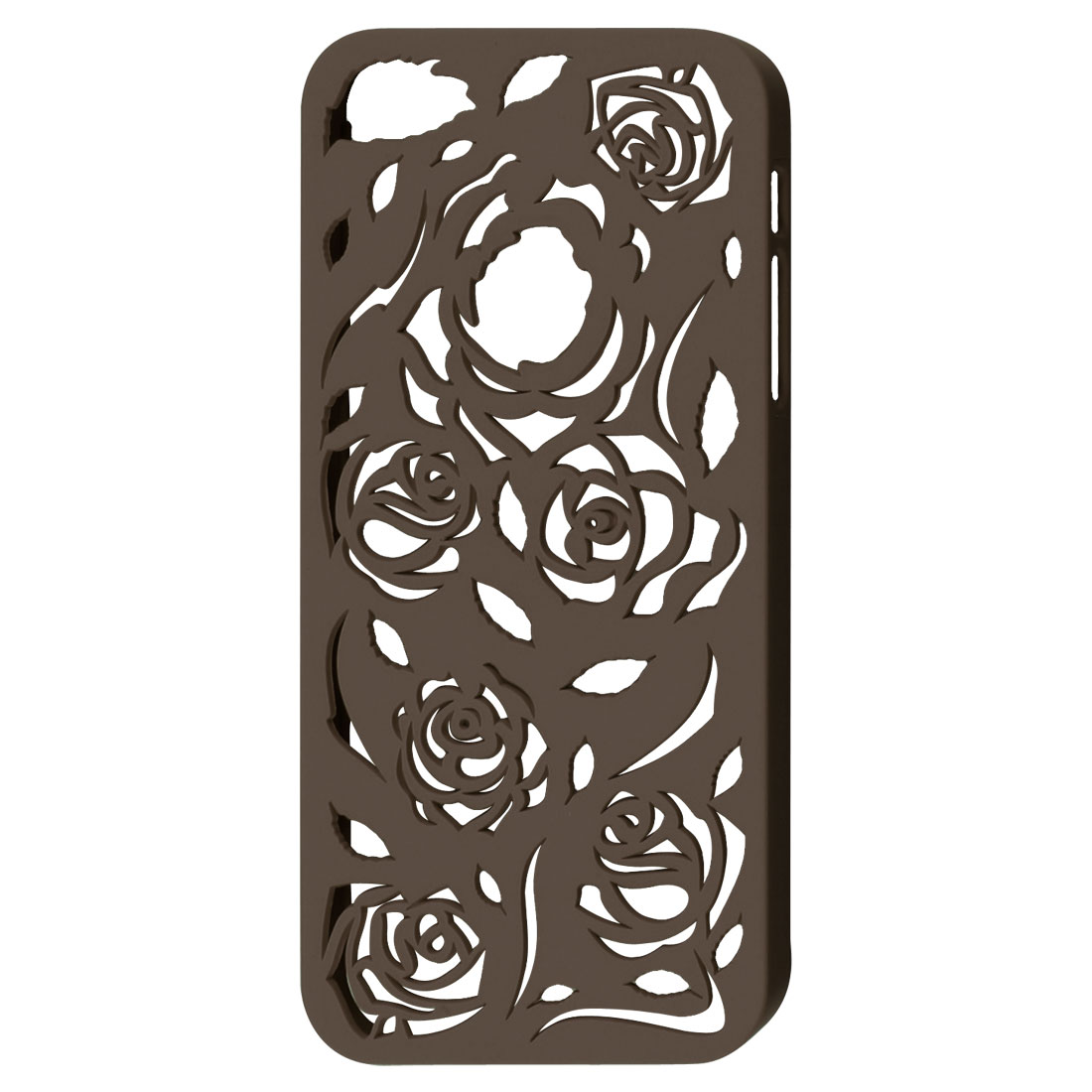 Coffee Color Hollow Out Rose Plastic Back Case Cover for Apple iPhone 5 5G
