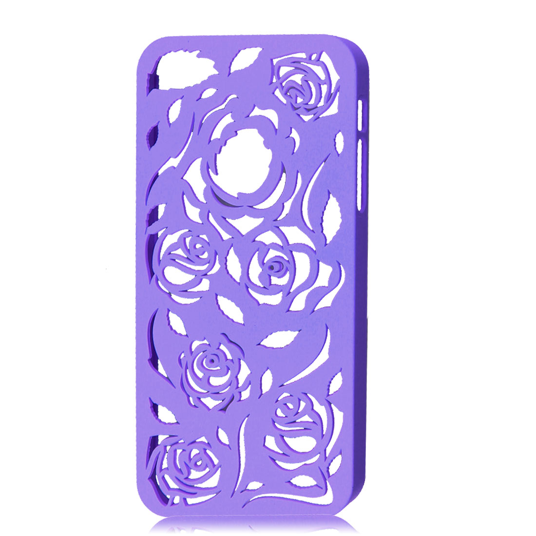 Hollow Out Rose Design Purple Back Case Cover for iPhone 5 5G 5th Gen