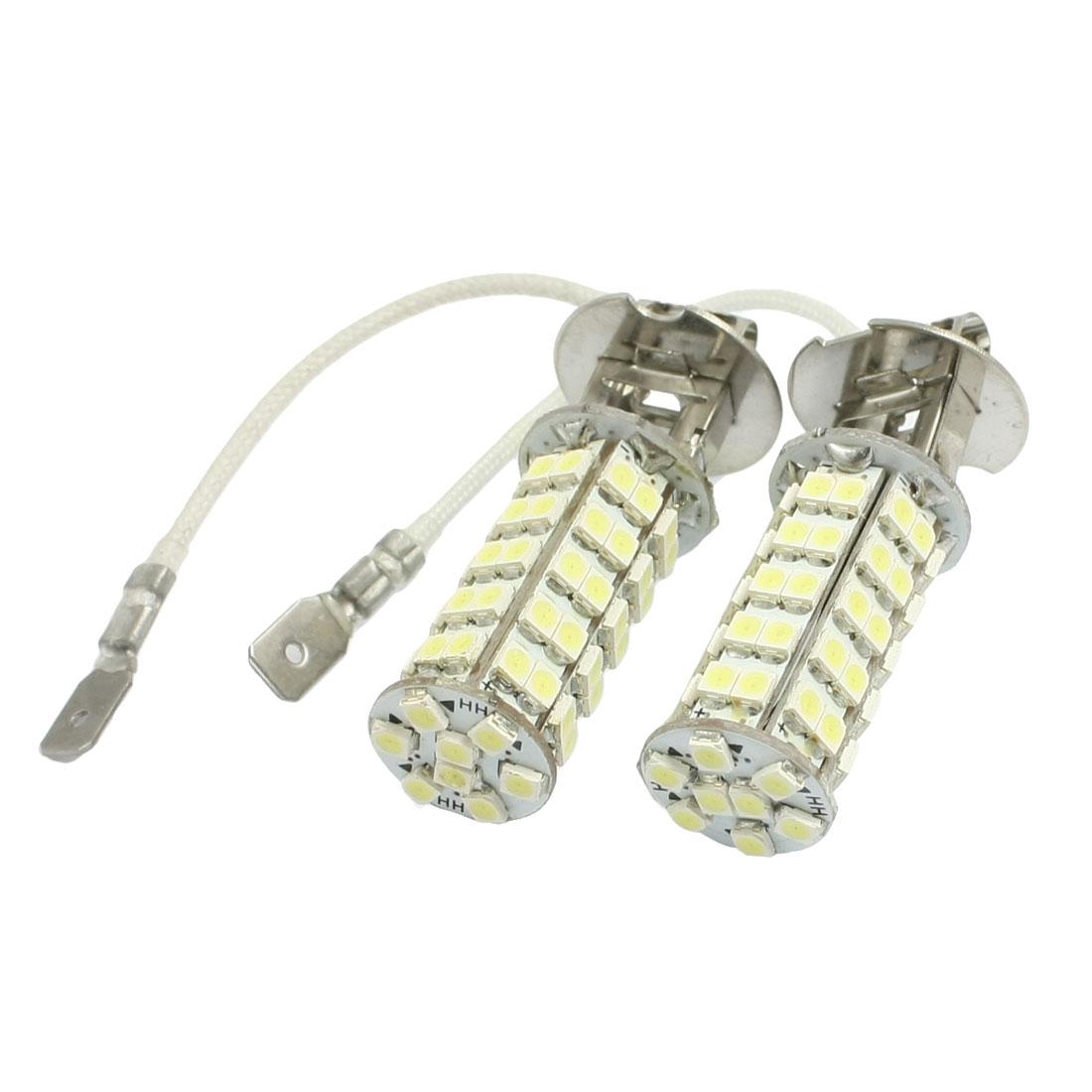 2 Pcs White H3 3528 1210 SMD 68 LED Car Foglight Light Bulb Lamp