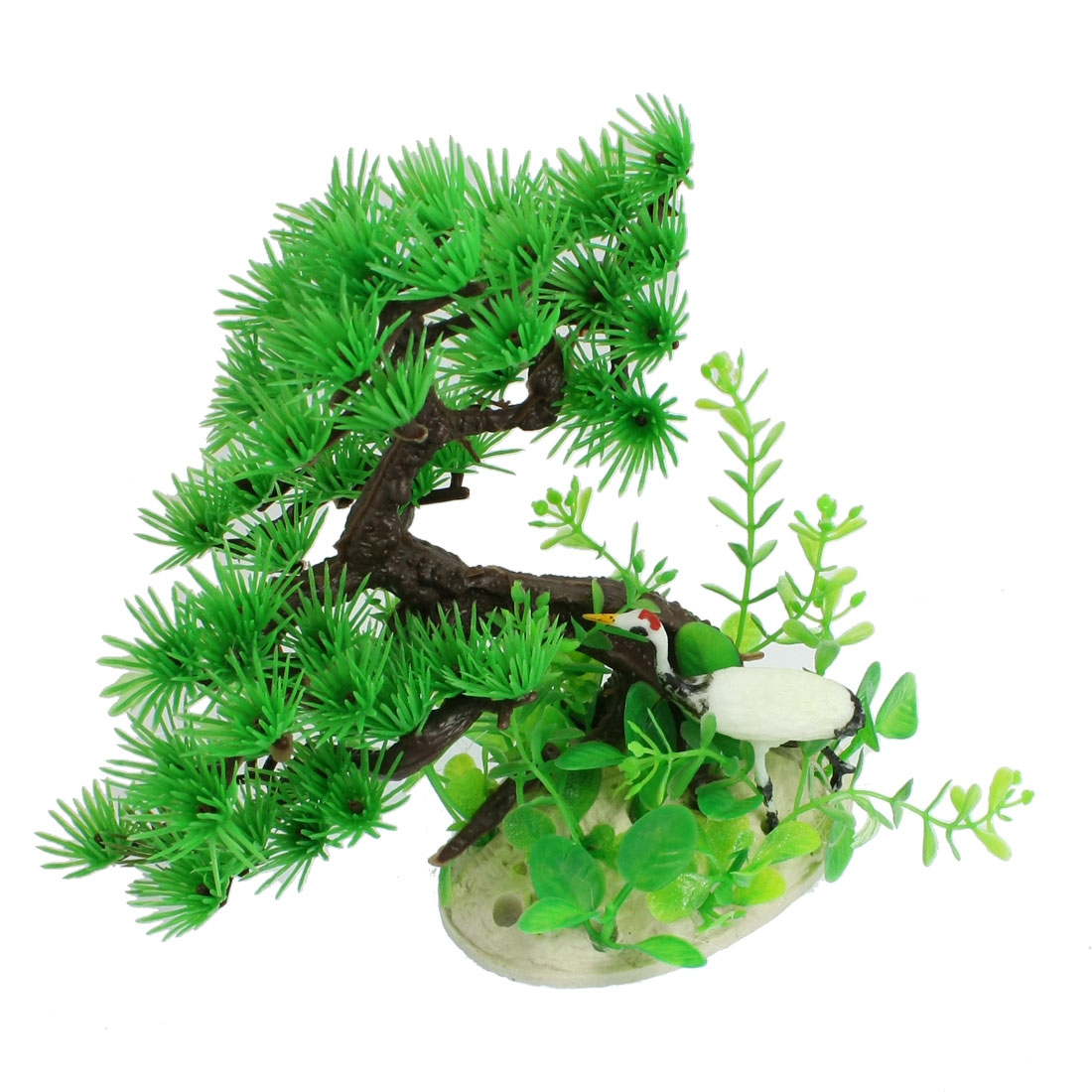 "5.5"" Height White Crane Green Dark Brown Resin Pine Tree Ornament for Aquariums"