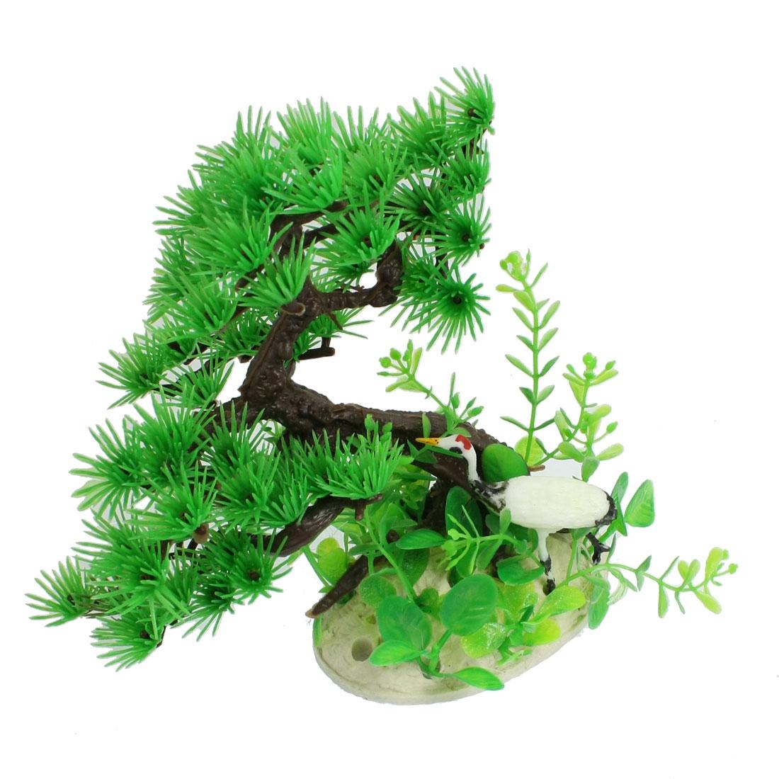 "5.5"" Height White Crane Green Dark Brown Resin Pine Tree Ornament for Aquariums"