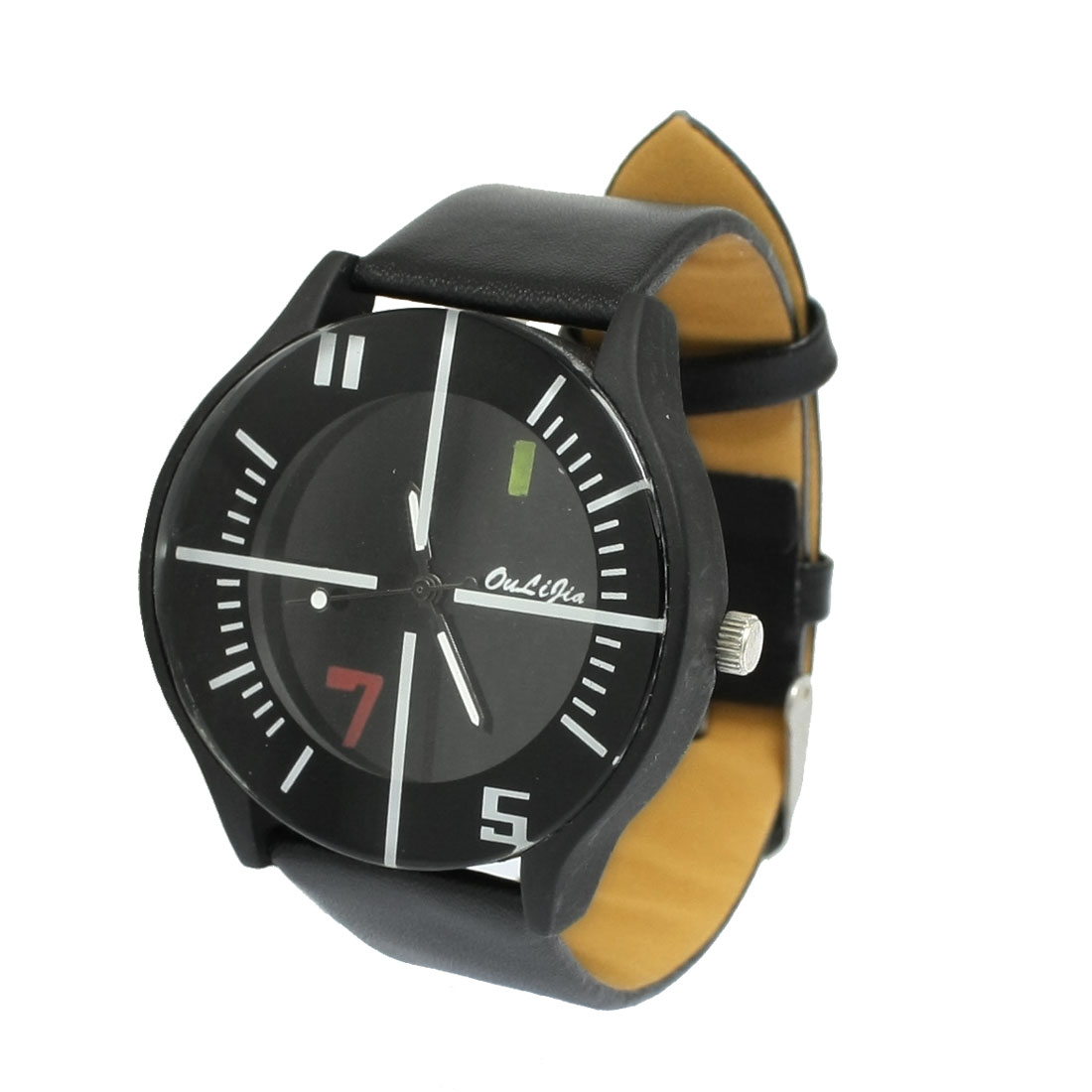 Ladies Black Faux Leather Wrist Band Round Graduated Dial Wristwatch