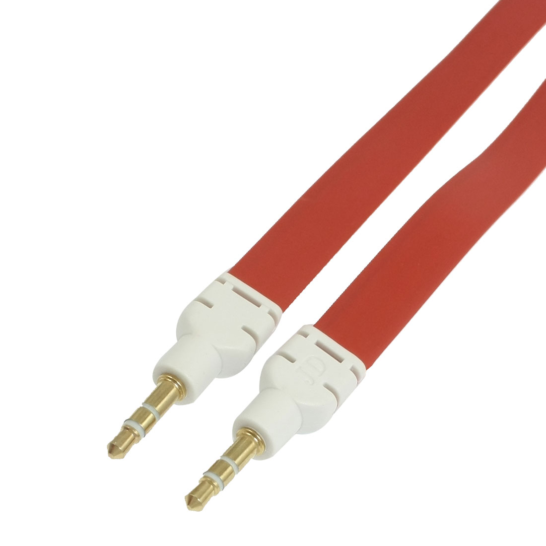 3.3Ft Long 3.5mm Male to Male Plug Flat Audio Cable Red for MP3 MP4 Player