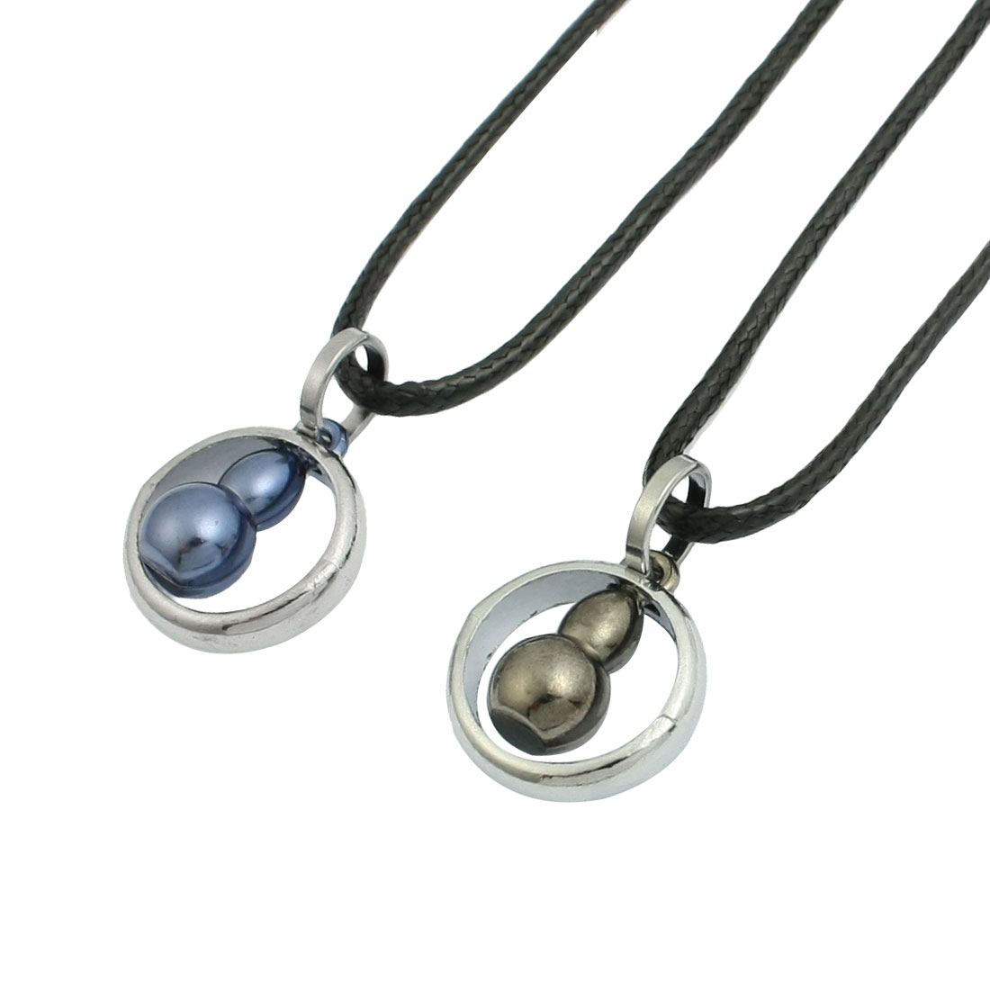 Pair Black String Gray Blue Gourd Silver Tone Ring Pendant Necklace for Couples