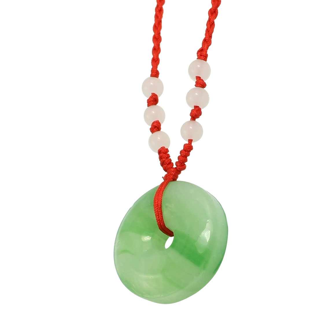Ladies Red Braid String Beads Decor Green Donut Shape Faux Jade Pendant Necklace
