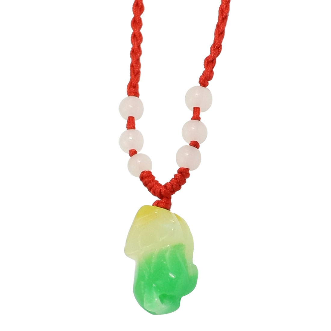 Red Braid String Yellow White Green Faux Jade Decor Pendant Beaded Necklace