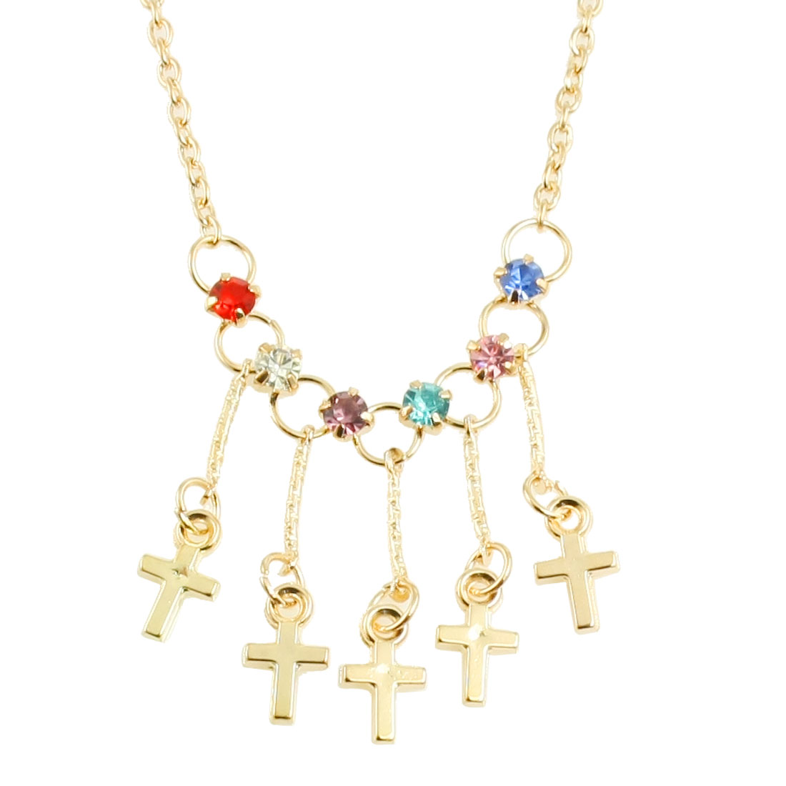 Ladies Gold Tone Metal Cross Purple Red Blue Rhinestone Pendant Chain Necklace