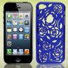 Blue Hollow Out Rose Design Plastic Back Case Cover for Apple iPhone 5 5G