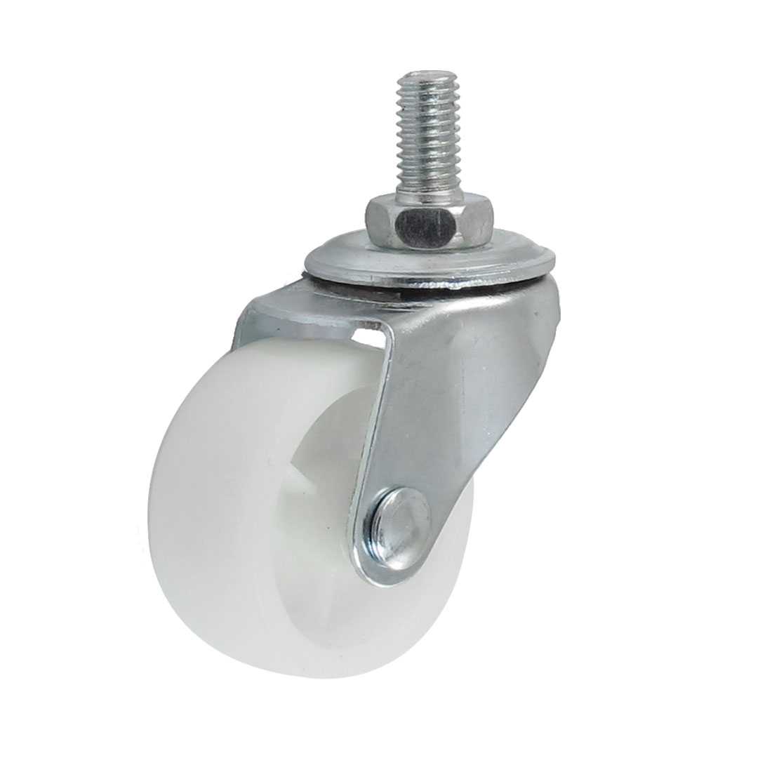 """1.5"""" Single Wheel Side Brake 7.7mm Threaded Stem Swivel Nylon Caster White"""