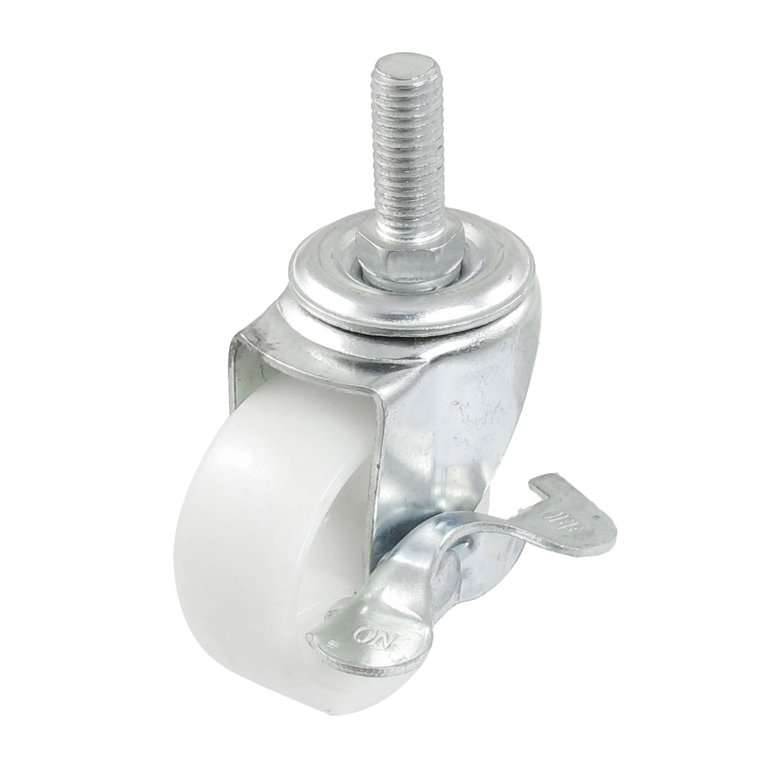 "2"" Single Wheel Side Brake 9.9mm Threaded Stem Swivel Nylon Caster White"