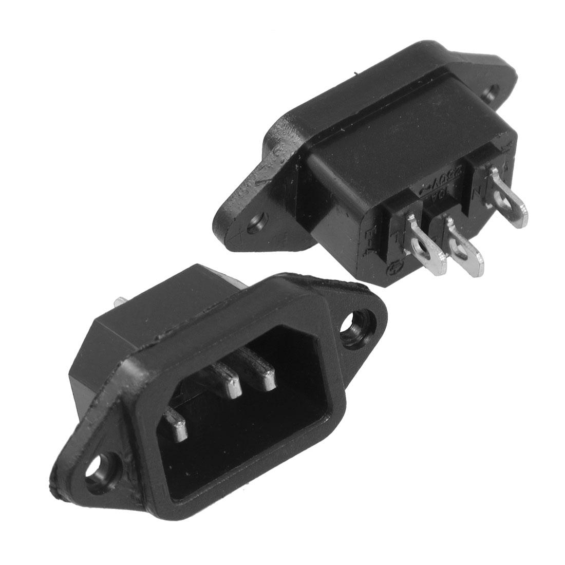 3 Pcs AC 250V 10A 3 Terminals C14 Connector Inlet Power Socket Adapter Black
