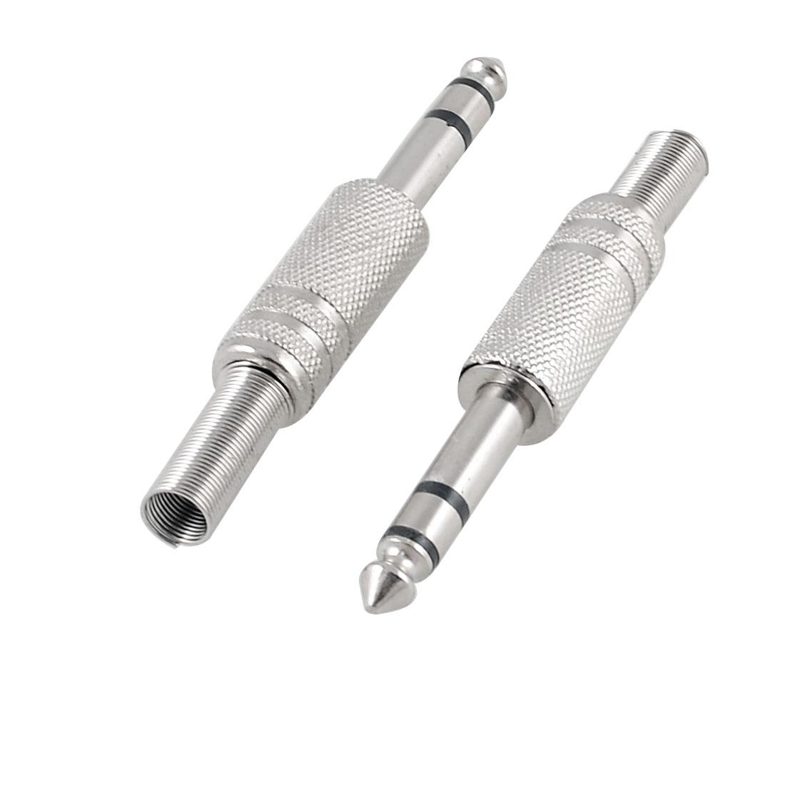 5 Pcs 6.35mm Mono Plug DIY Audio Adapter Connector Metal Spring