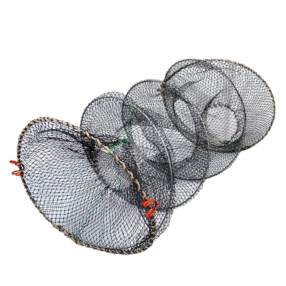"28"" Height Spring Wire Frame Lobster Crawfish Cast Fishing Net Black"