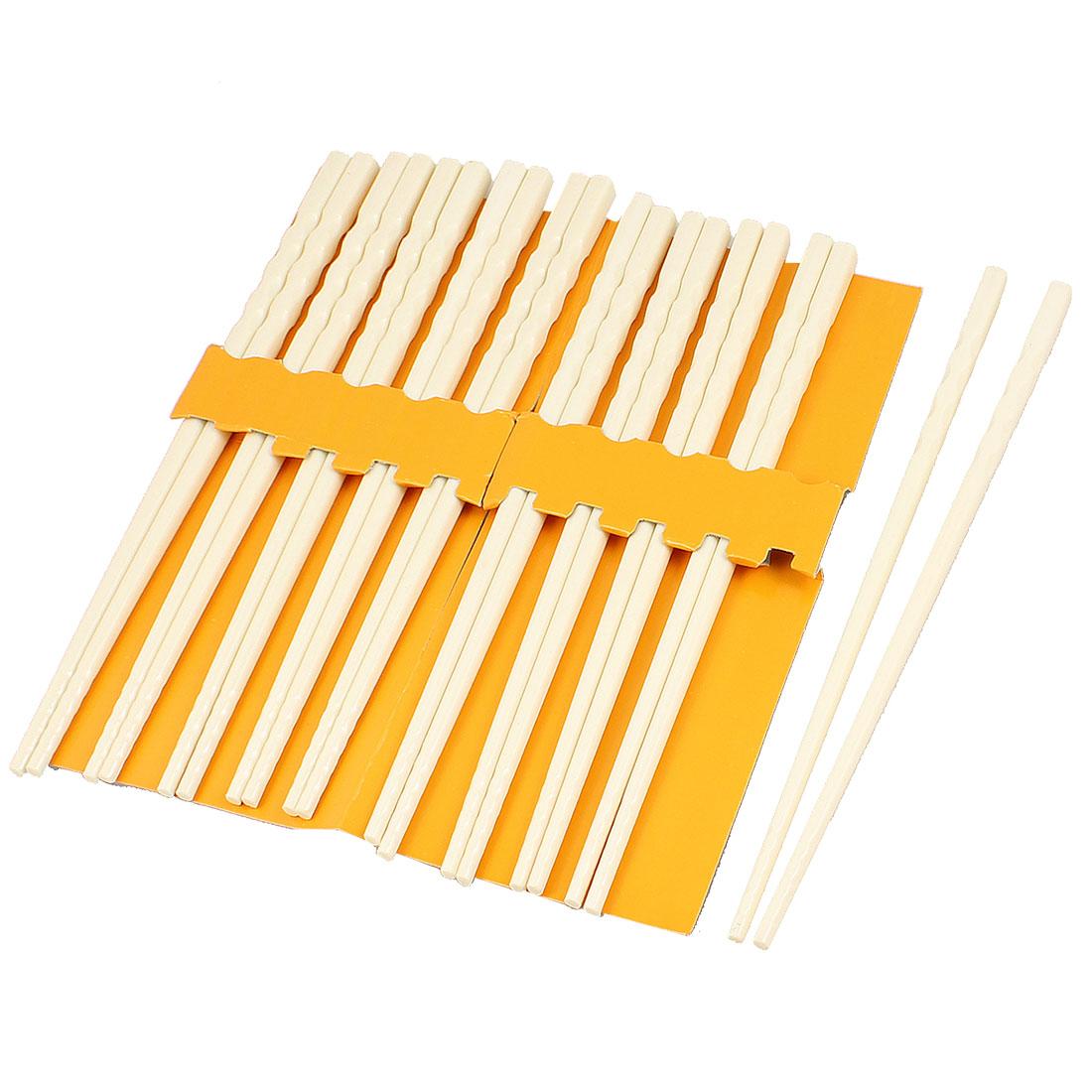 10 Pairs Kitchen Dishware Nonslip Plastic Chopsticks Beige