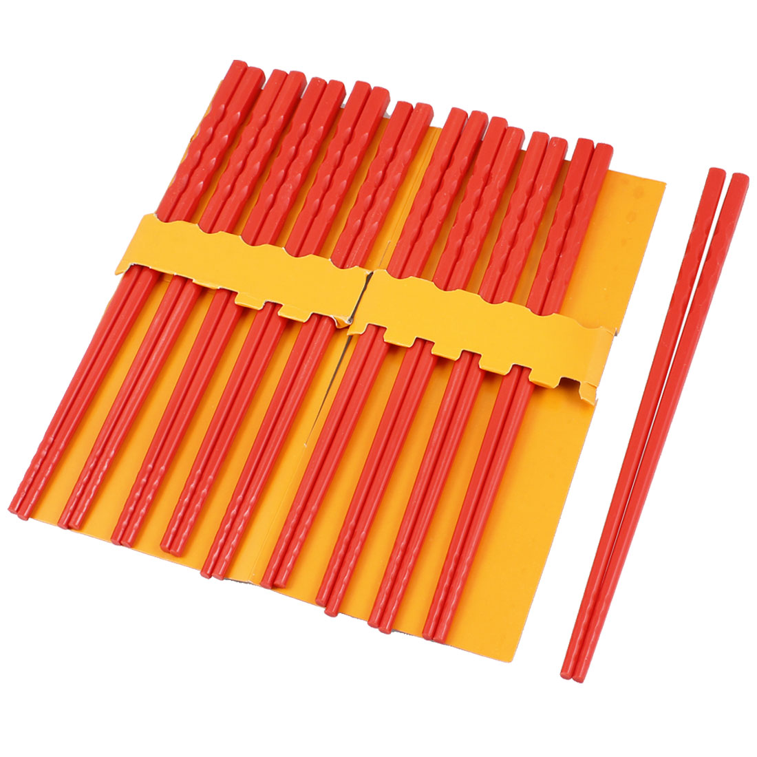 10 Pairs Kitchen Dishware Nonslip Plastic Chopsticks Red
