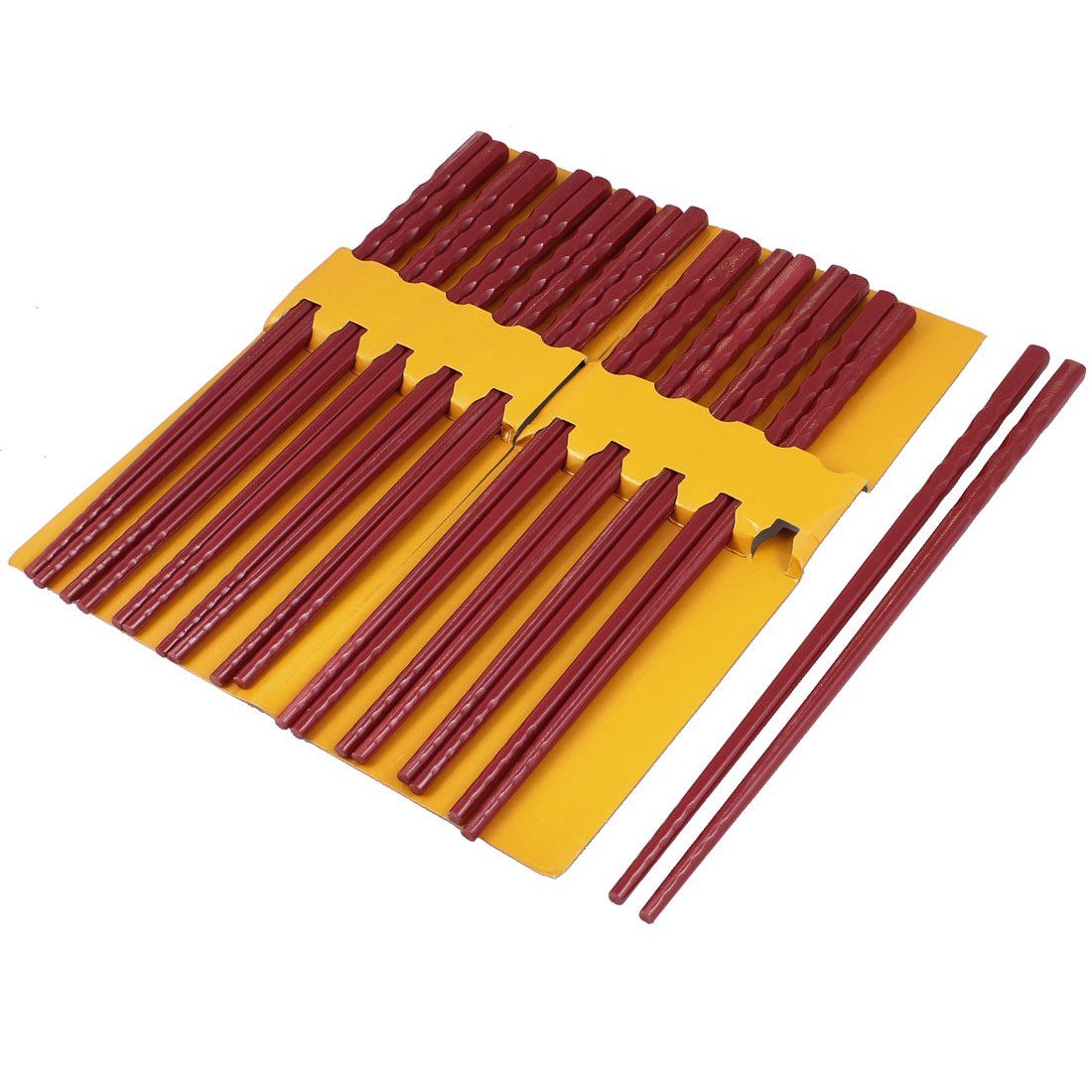 10 Pairs Kitchen Dishware Nonslip Plastic Chopsticks Burgundy