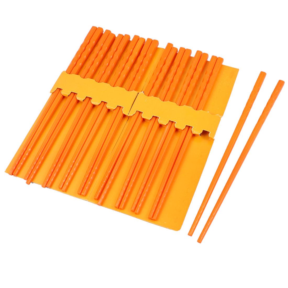 10 Pairs Kitchen Dishware Nonslip Plastic Chopsticks Orange