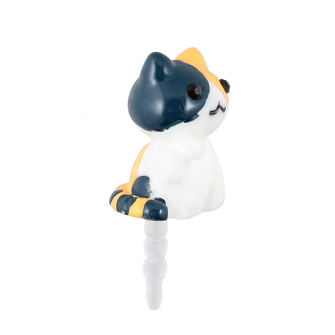White Cat Design 3.5mm Earphone Anti Dust Cap Stopper for Cellphone