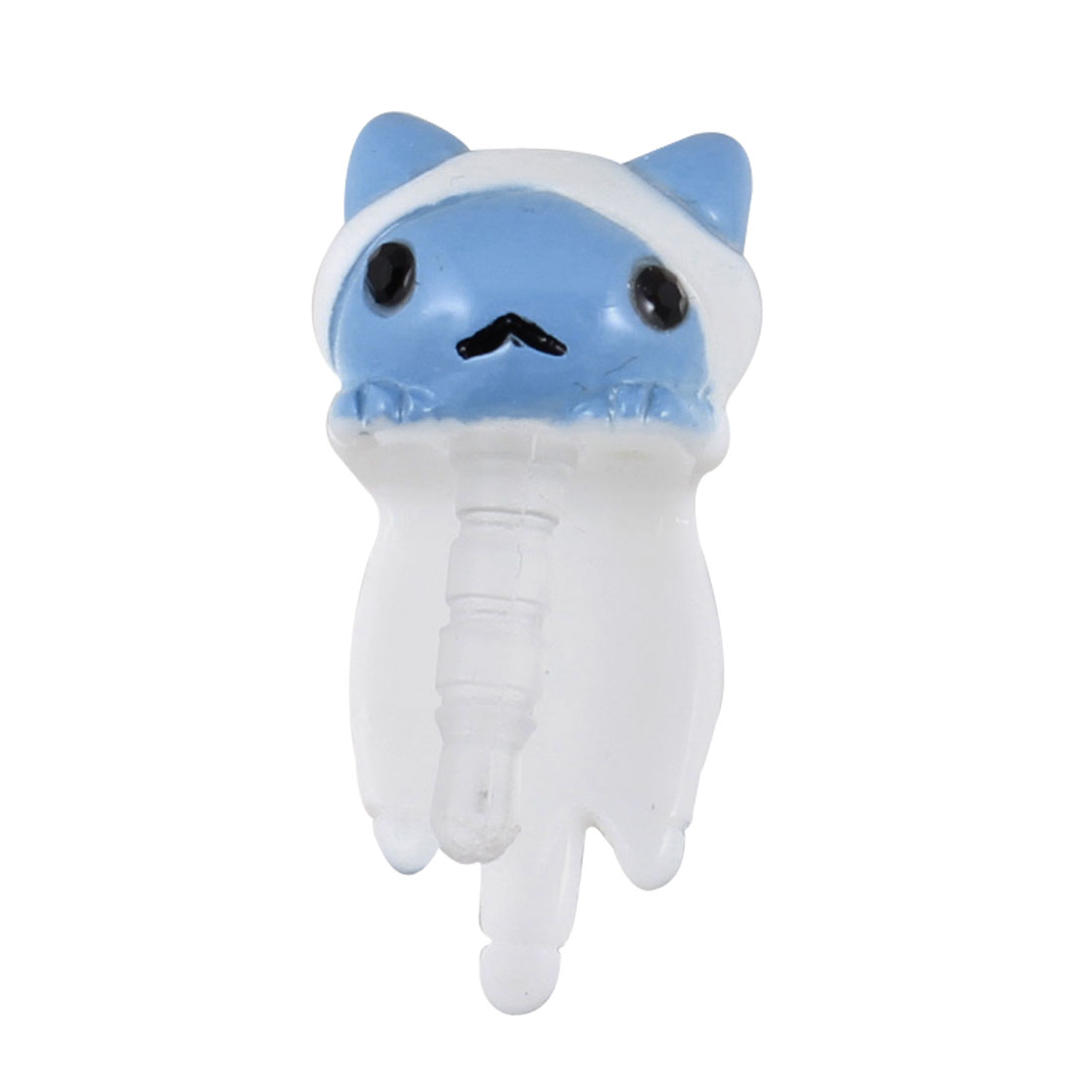 White Blue Cat 3.5mm Earphone Cap Dust Stopper Cover for MP3 MP4 Phone