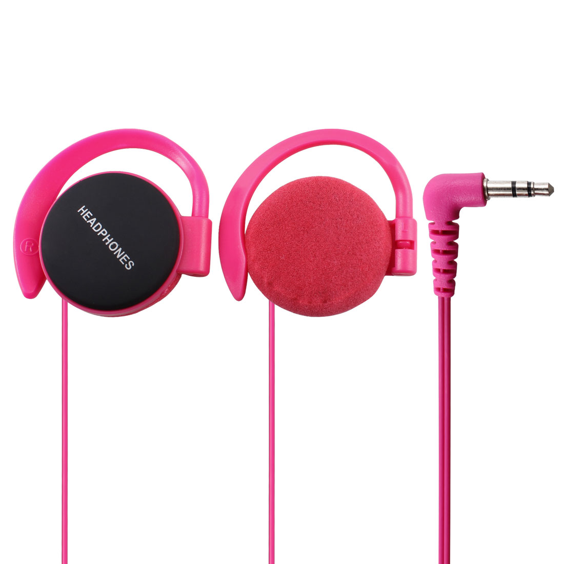 3.5mm Jack Clip on Stereo Headphone Earphone Fuchsia for Cell Phone