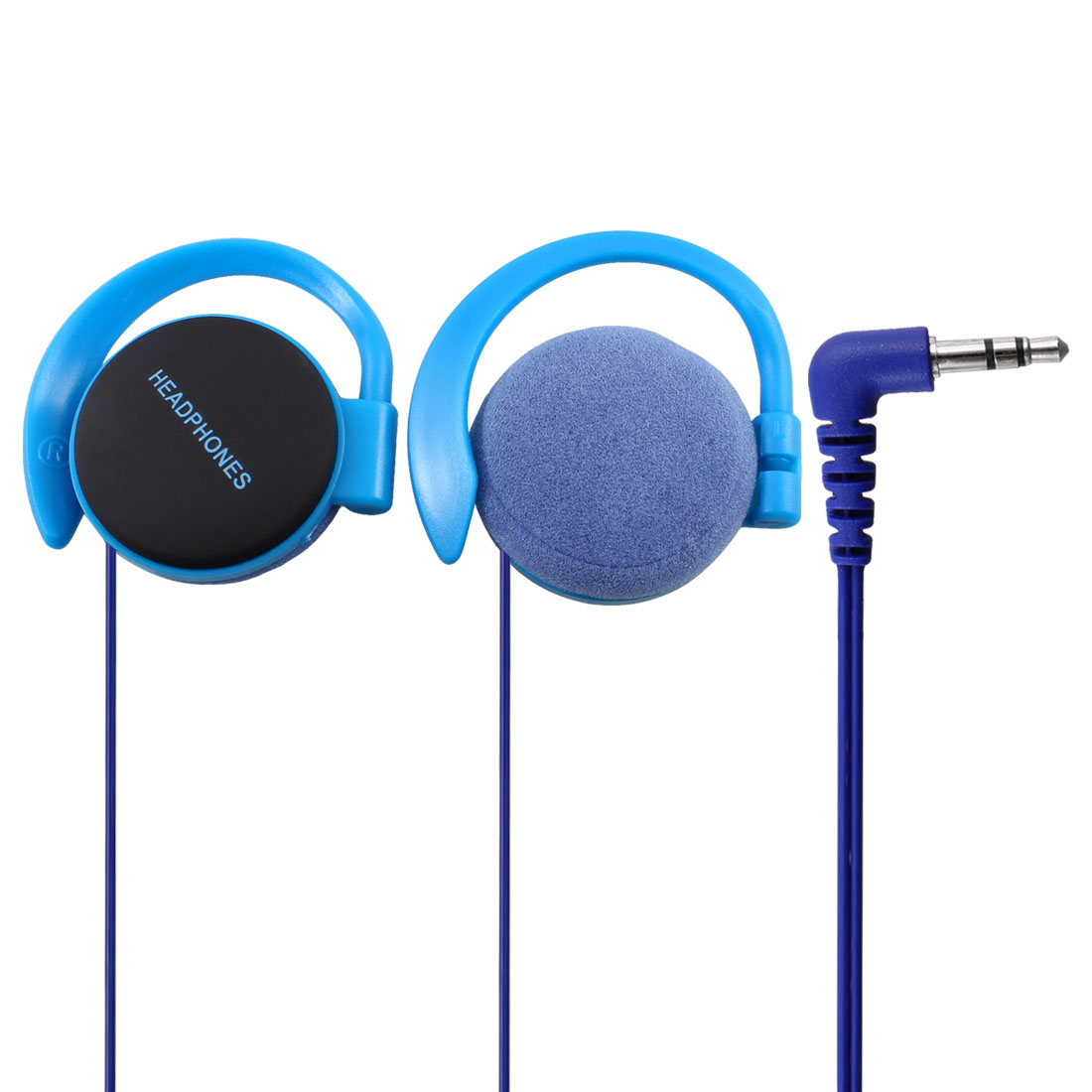 3.5mm Jack Clip on Stereo Headphone Earphone Blue for Phone