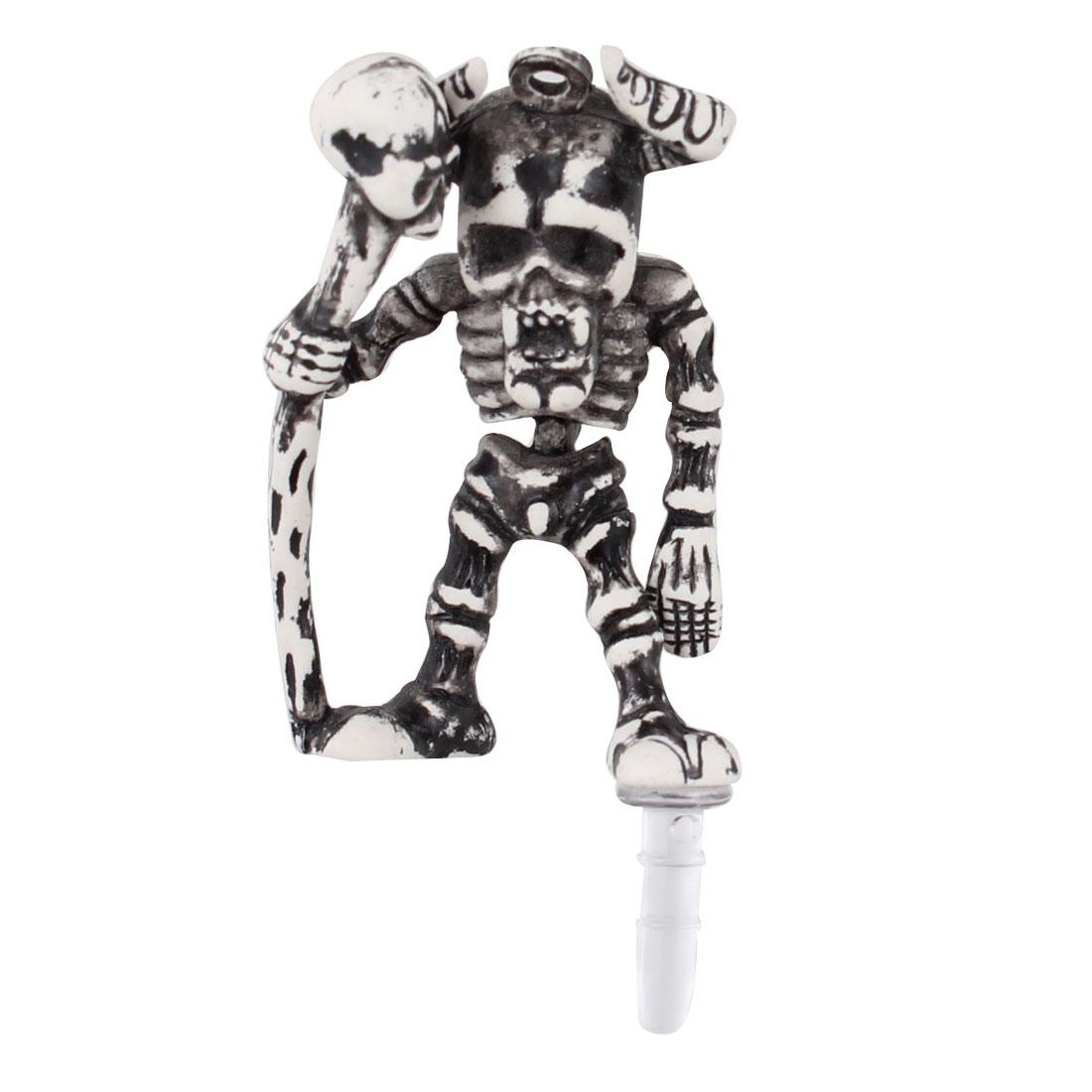 Gray Skeleton Decor Anti Dust 3.5mm Earphone Cap for Phone