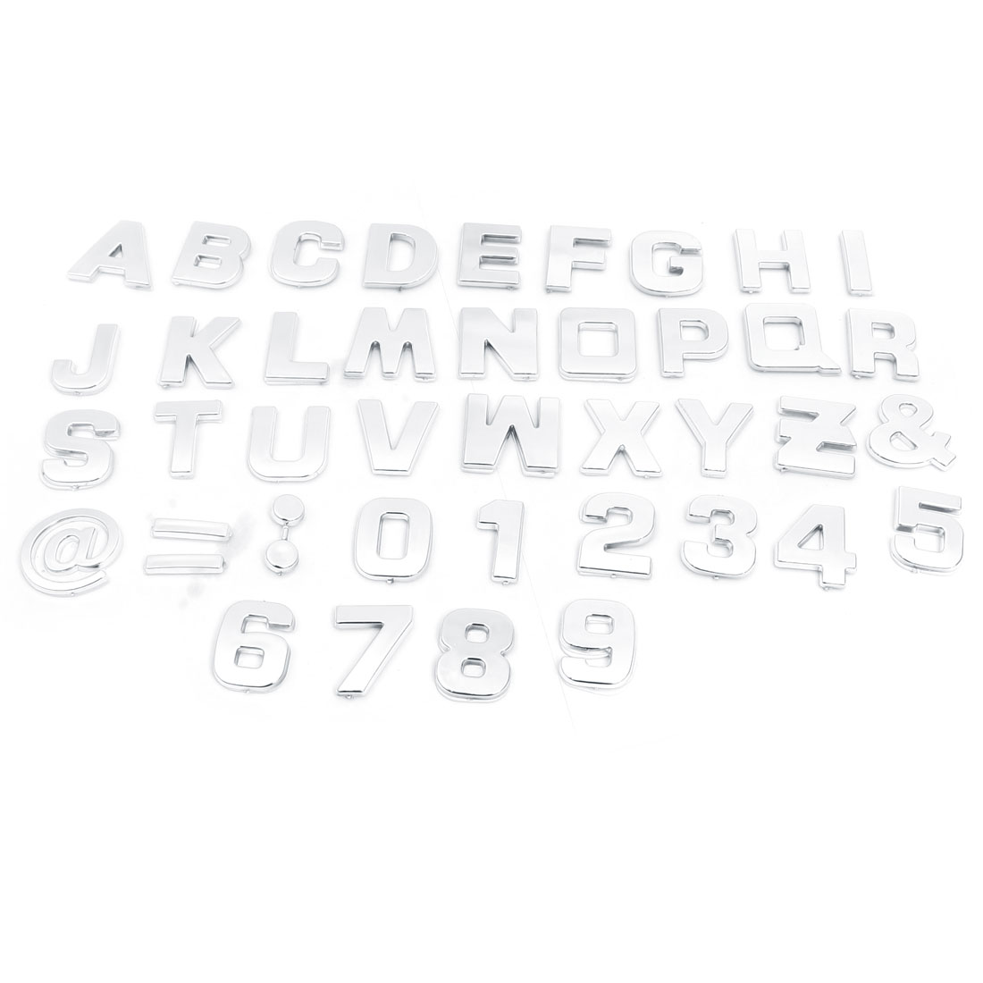 200 Pcs Adhesive Plastic Letter Number Car 3D Emblem Badge Silver Tone