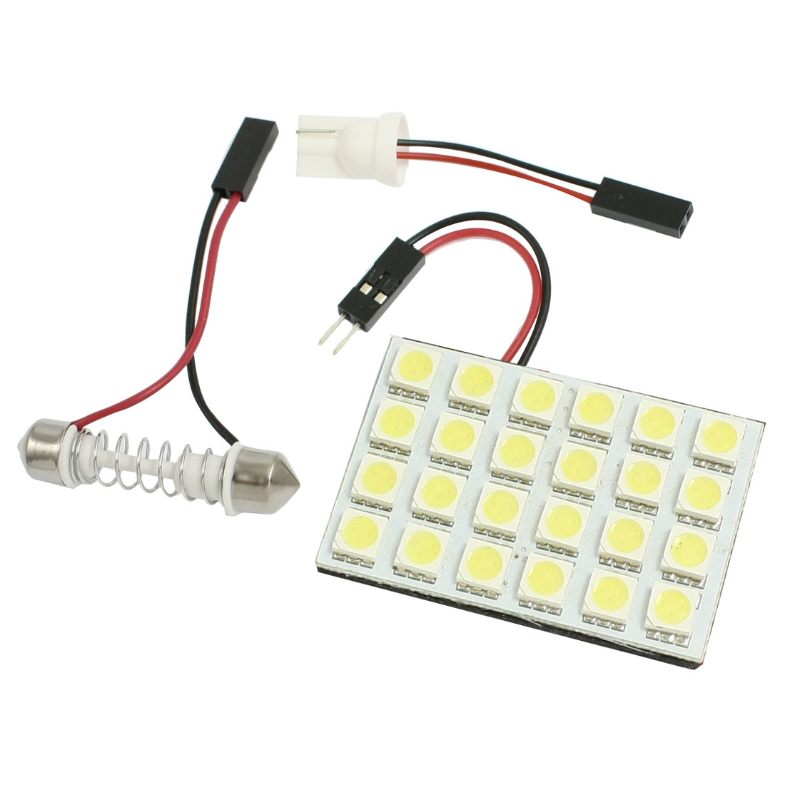 White 5050 SMD 24 LED Panel Dome Light + T10 Adapter + 29-40mm Festoon
