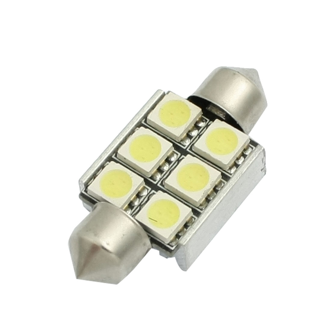 36mm 6 LED 5050 SMD White Festoon Dome Bulb License Plate Light Heat Sink