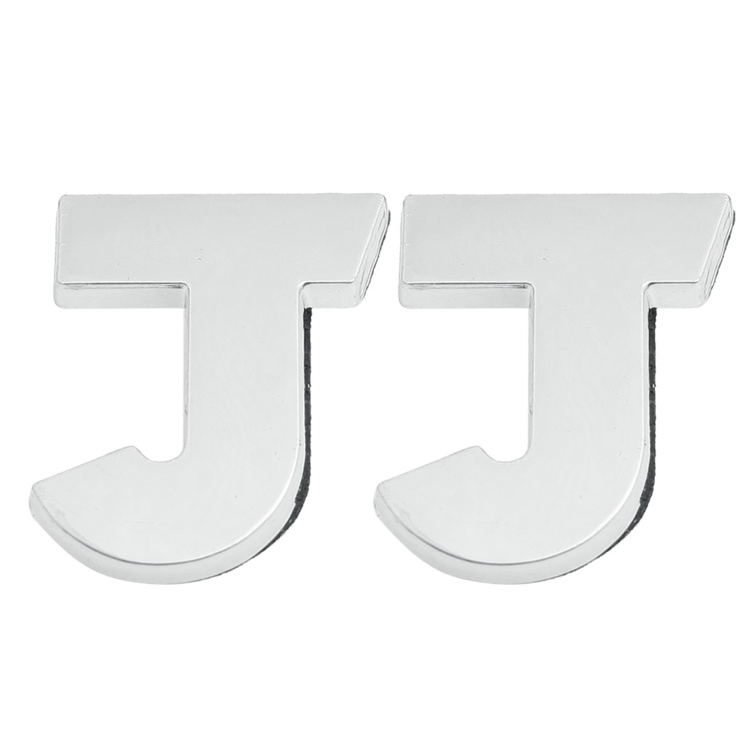 2 Pcs Adhesive Plastic Letter J Car 3D Emblem Badge Decoration Silver Tone