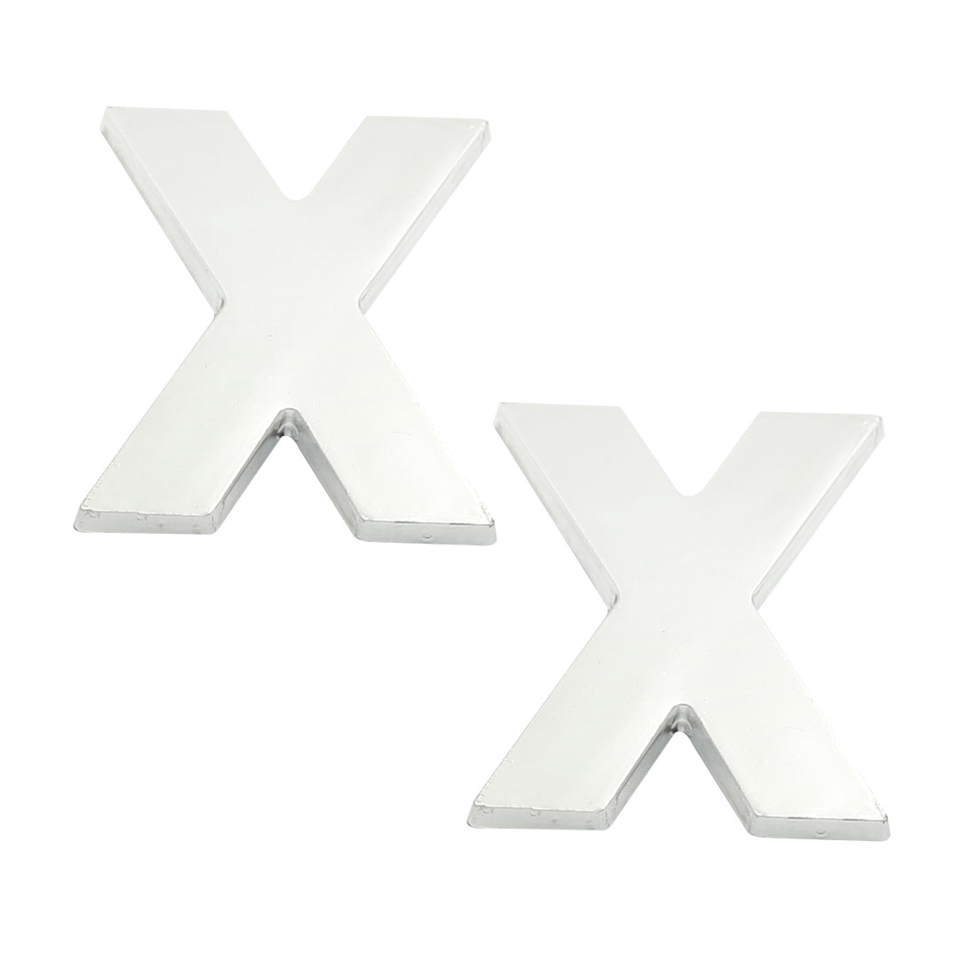 Car Truck Front Hood Letter X 3D Emblem Badge Sticker Silver Tone 2 Pcs
