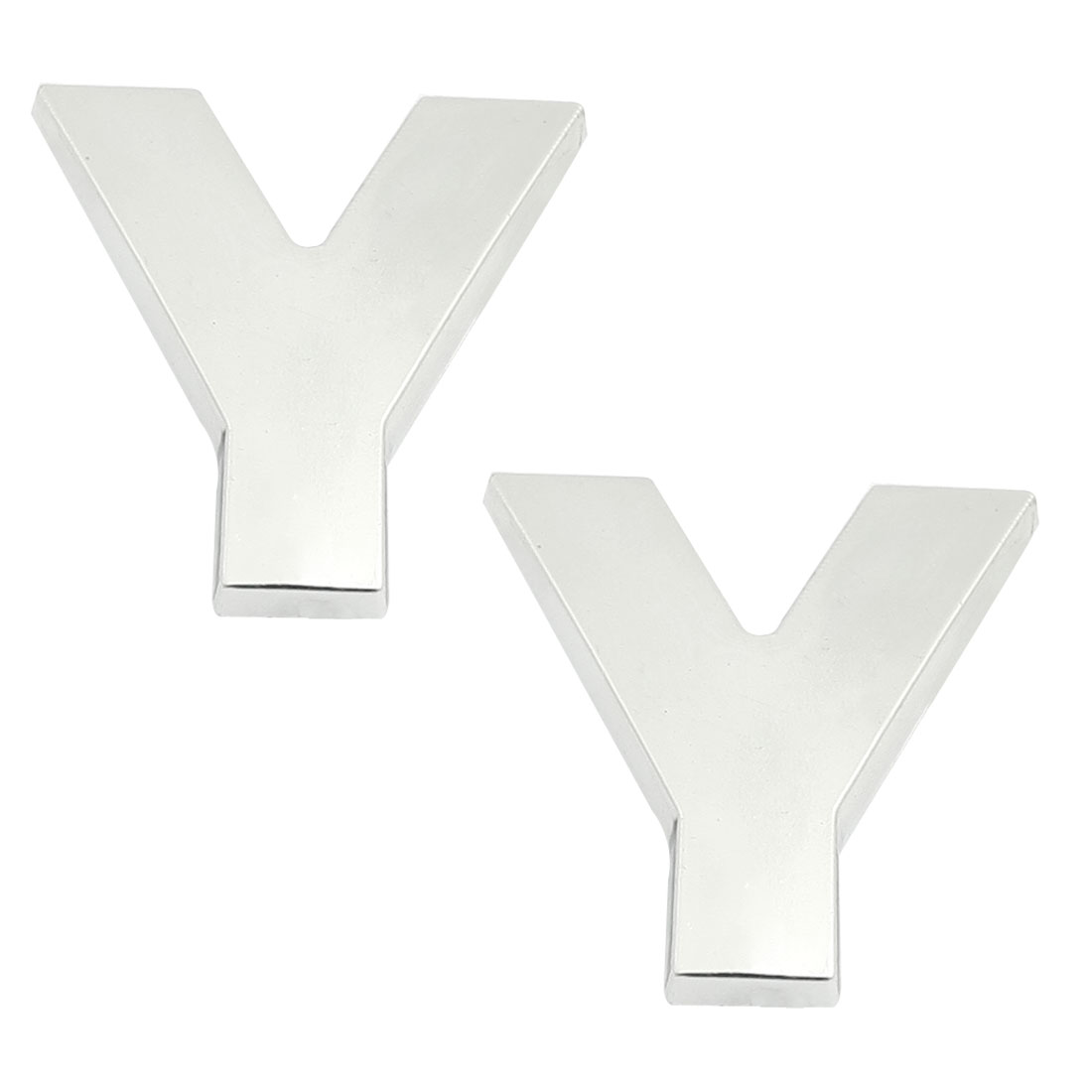 Car Truck Hood Door Letter Y 3D Emblem Badge Sticker Silver Tone 2 Pcs