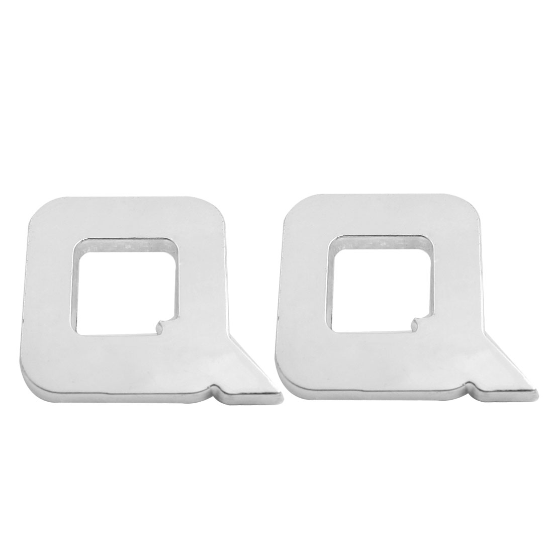 Motorcycle Car Auto Q Letter 3D Emblem Badge Sticker Decal Silver Tone 2 Pcs