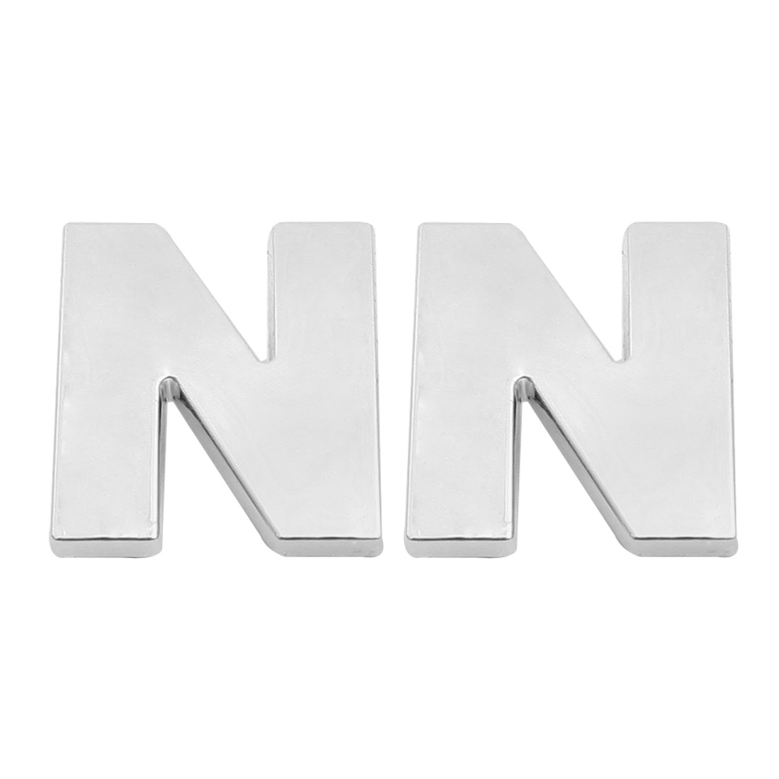 Car Vehicle Hood Trunk Letter N 3D Emblem Sticker Silver Tone 2 Pcs
