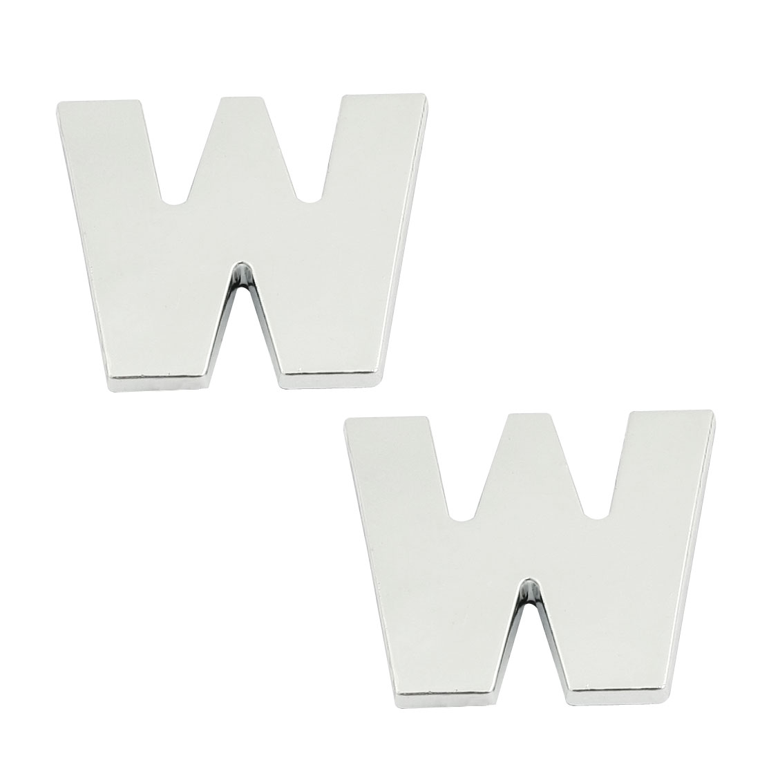 2 Pcs Adhesive Letter W Car Vehicle 3D Emblem Badge Ornament Silver Tone