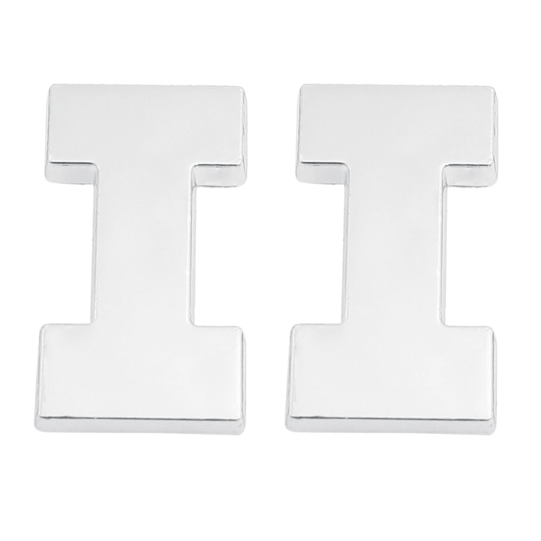 Car Vehicle Hood Trunk Letter I 3D Emblem Badge Sticker Silver Tone 2 Pcs