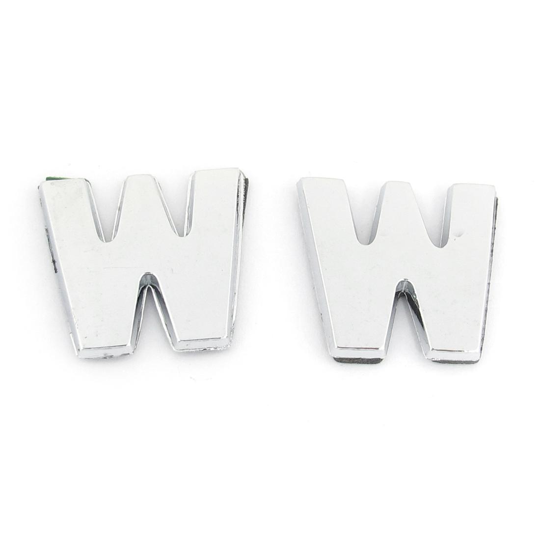 2 Pcs Adhesive Plastic Letter W Car 3D Emblem Sticker Ornament Silver Tone