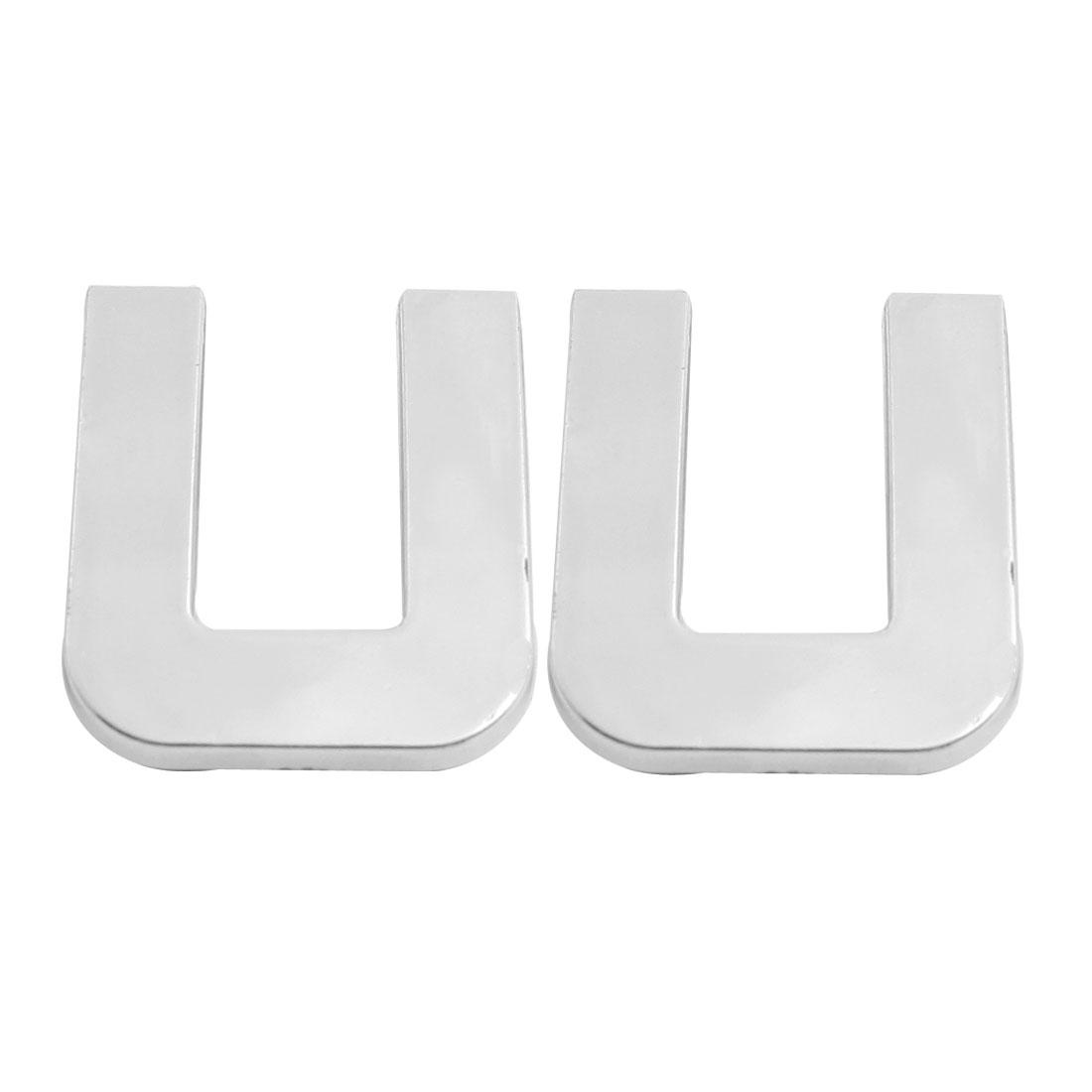 Motorcycle Car U Letter 3D Emblem Badge Sticker Decor Silver Tone 2 Pcs