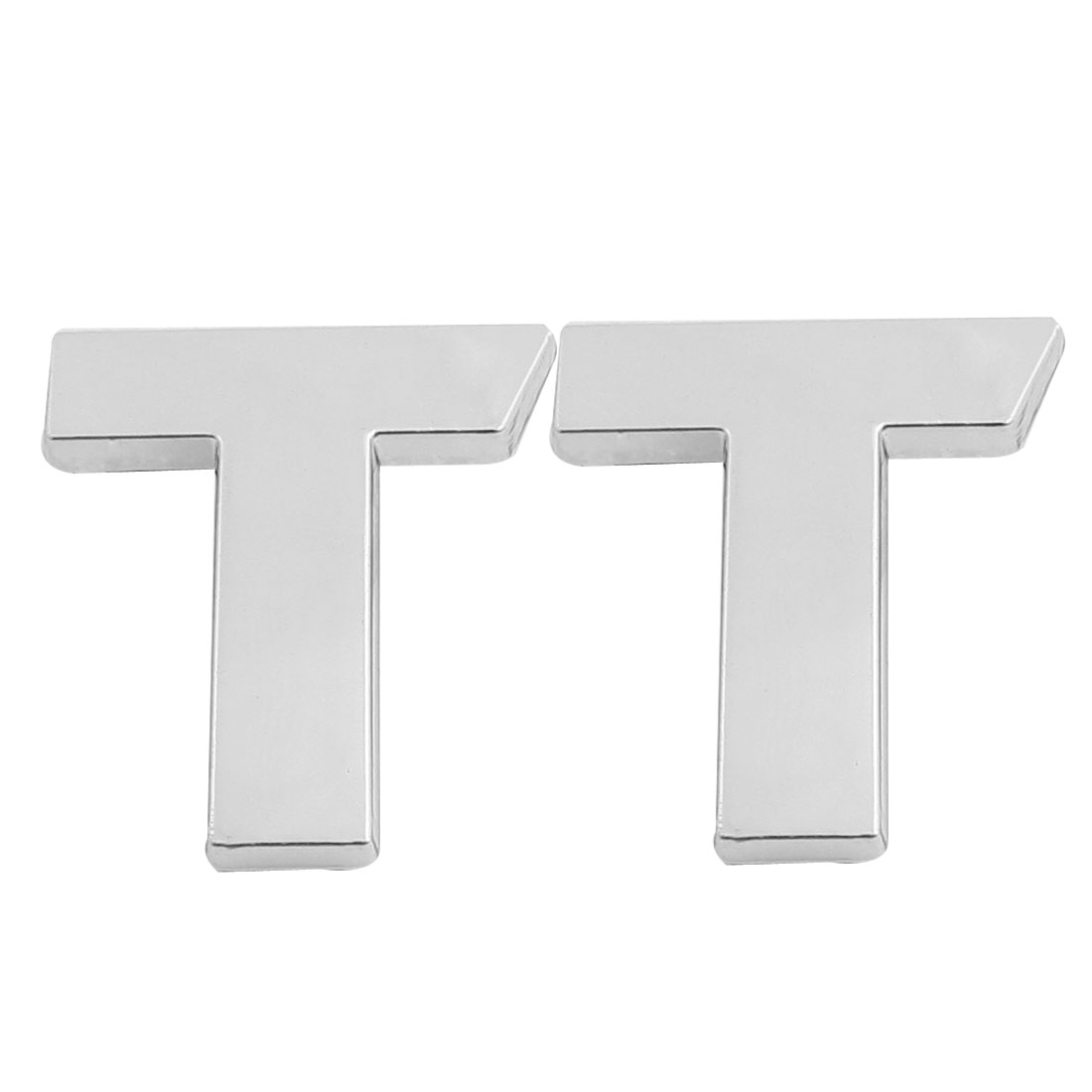 Car Front Hood Letter T 3D Emblem Badge Sticker Decal Silver Tone 2 Pcs
