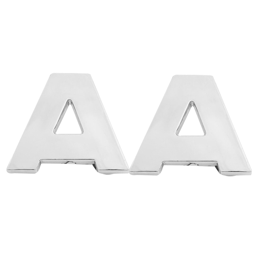 Motorcycle Car Auto A Letter 3D Emblem Badge Sticker Decal Silver Tone 2 Pcs
