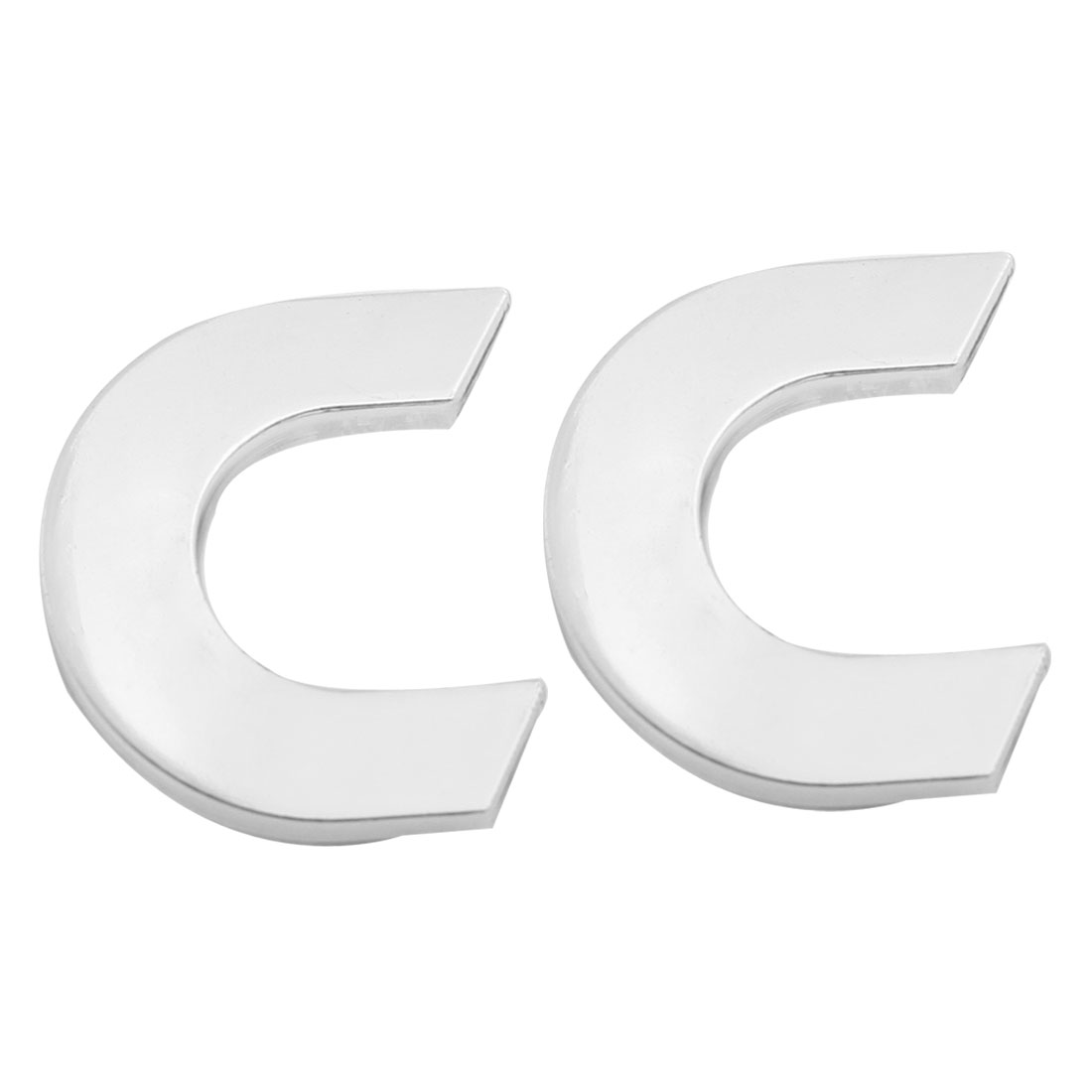 Car Vehicle Hood Trunk Letter C 3D Emblem Badge Sticker Silver Tone Pair