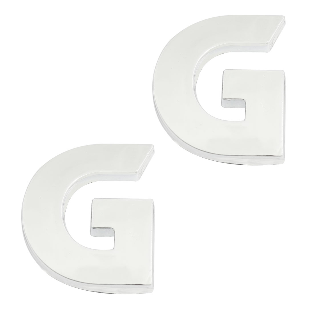 2 x Adhesive Plastic Letter G Car 3D Emblem Badge Decal Decor Silver Tone