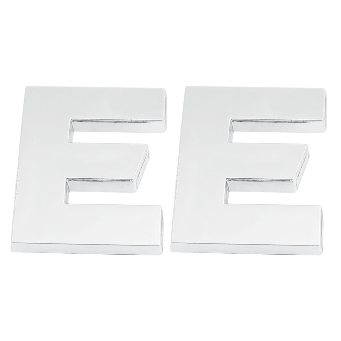 2 x Letter E 3D Emblem Motorcycle Car Auto Badge Sticker Decal Silver Tone