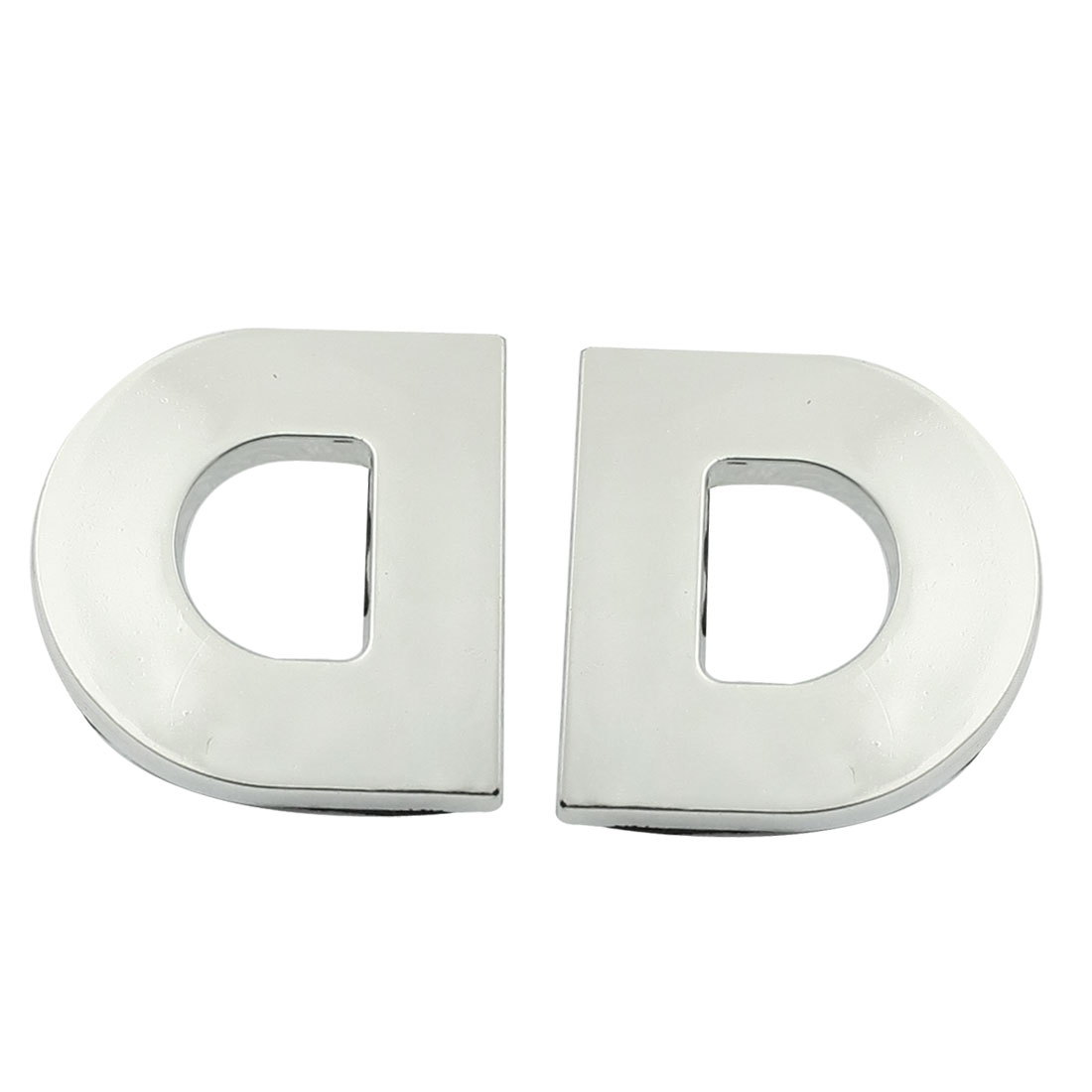Motorcycle Car D Letter 3D Emblem Badge Sticker Silver Tone 2 Pcs