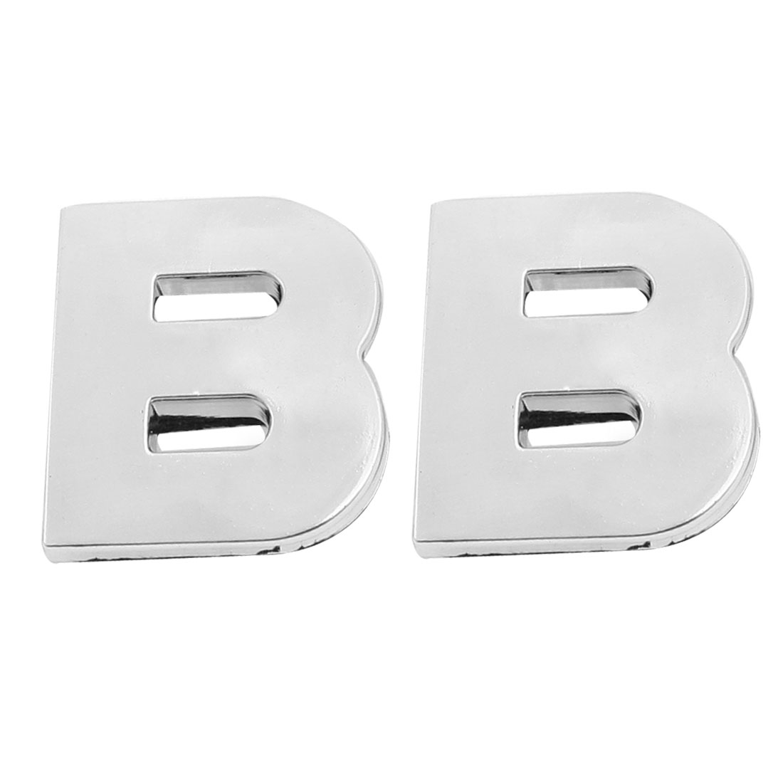 Car Vehicle Front Hood Letter B 3D Emblem Badge Sticker Silver Tone 2 Pcs